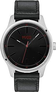 ساعة رجالية من هوغو بوس بمينا اسود وسوار جلدي اسود اللون - 1530018