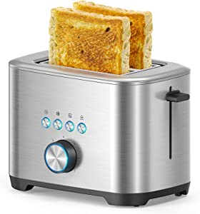 2 Slice Toaster Upgraded, Stainless Steel Toaster, Bagel/Defrost/Reheat/Cancel Function,7 Browning Levels,1.5 Inches Extra Wide Slot, Built-In Warming Rack for Muffin and Croissant, 120V, Silver