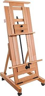 U.S. Art Supply Double Rocker Crank Heavy Duty Extra Large Wooden Studio Floor Easel - Sturdy Double Mast Adjustable H-Fra...