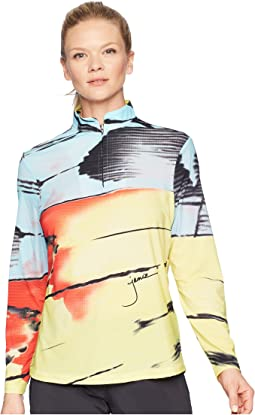 Sunsense® Lightweight Metamorphosis Print 1/4 Zip Long Sleeve Top with 50 SPF