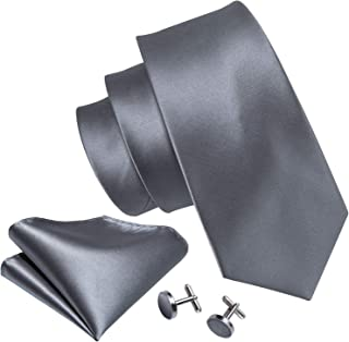 Barry.Wang Solid Colors Men Ties Handkerchief Cufflinks Necktie Set for Wedding Business