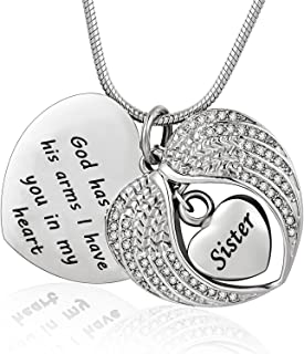 God has You in his arms with Angel Wing Diamond Cremation Jewelry Keepsake Memorial Urn Necklace