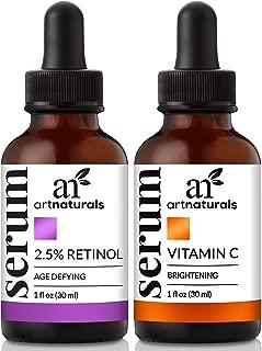 ArtNaturals Vitamin-C and Retinol Serum – (2 x 1 Fl Oz / 30ml) - Holiday Gift Set - Wrinkle & Dark Circle Remover (Morning & Night Anti Aging Therapy) – Natural and Moisturizing Treatment