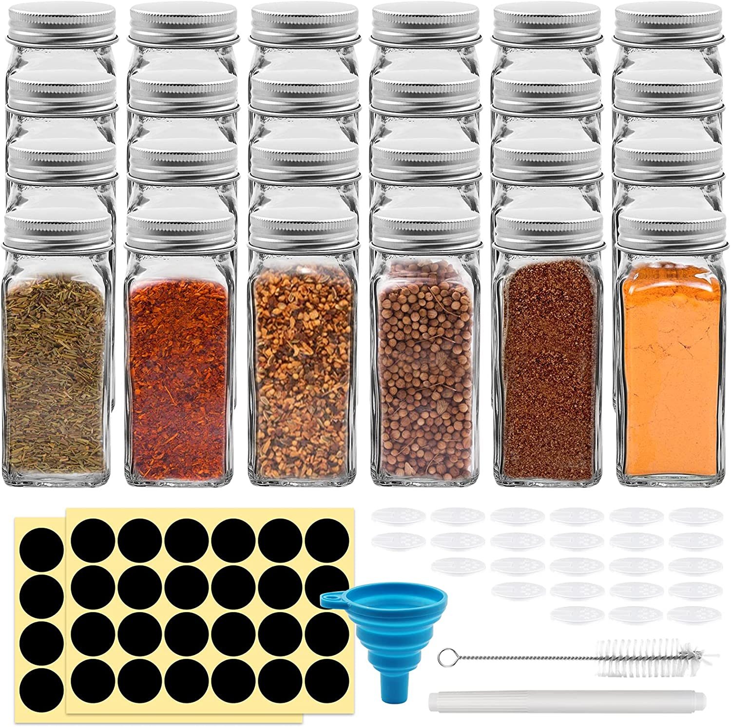 100% quality warranty 24 Pack 4oz Glass Spice Jars Ranking TOP10 Cookmaster Bottles Co Square