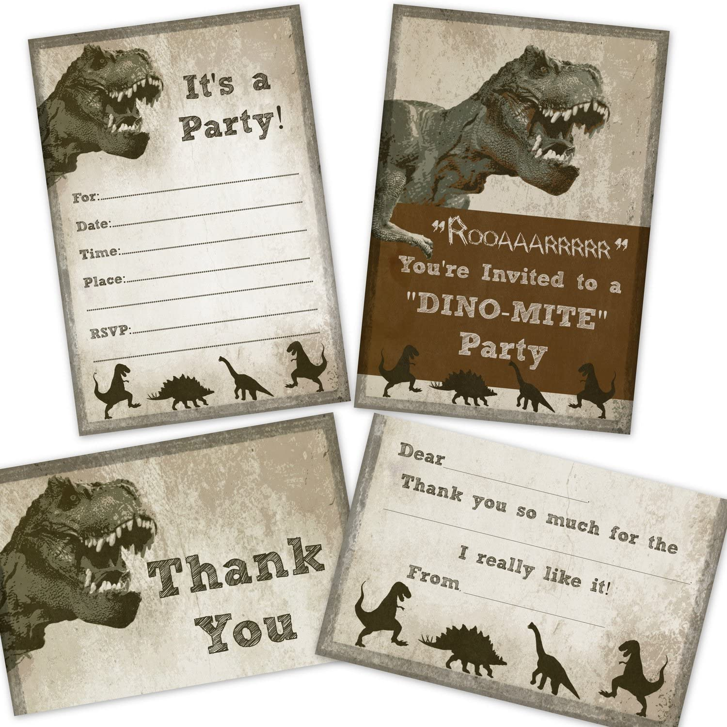 Dinosaur Birthday Party Pack - 12 Invitations, 12 Thank You Cards, 24 Envelopes