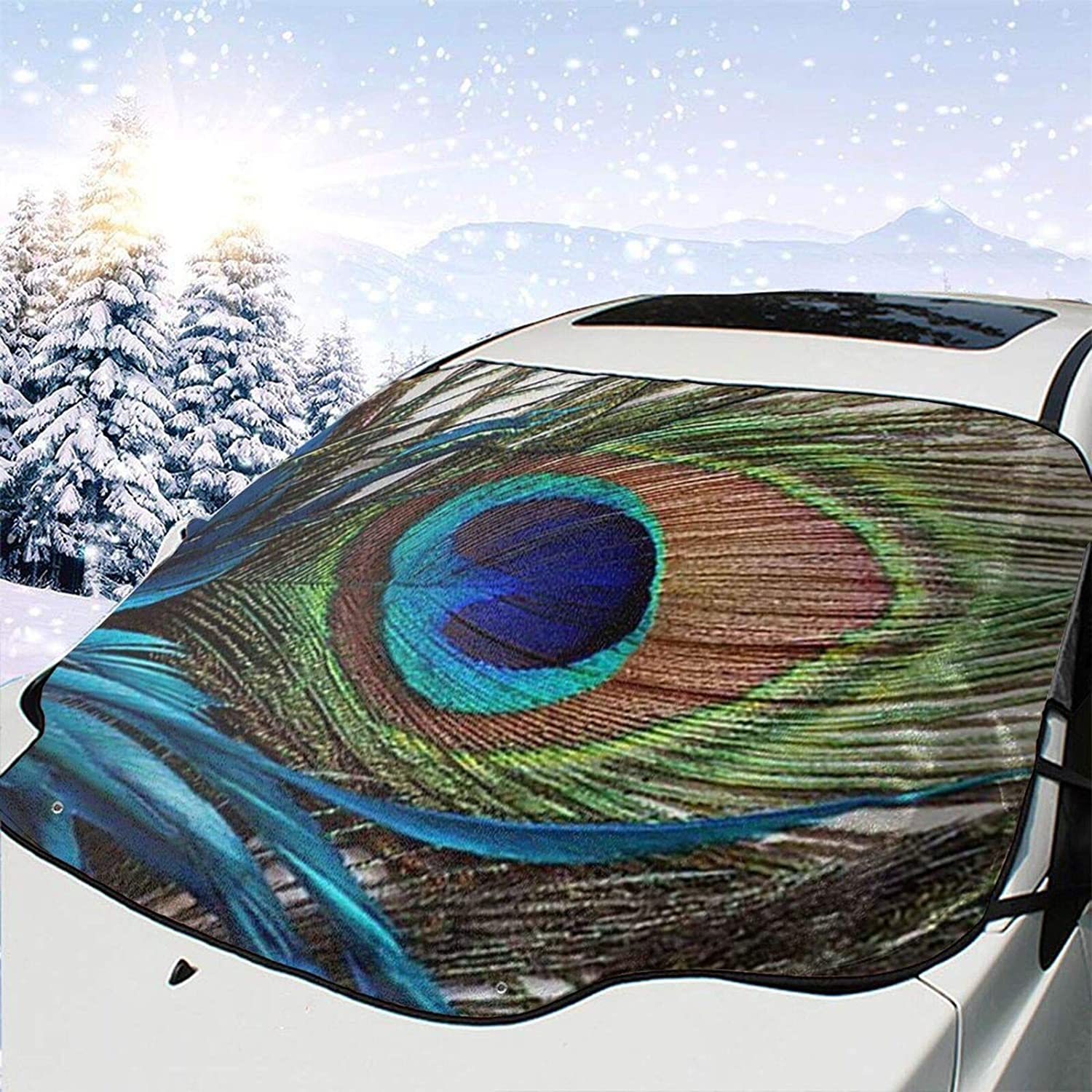 Car Front Beauty products Window Windshield Snow Daily bargain sale Frost Gu Cover Peacock Feathers