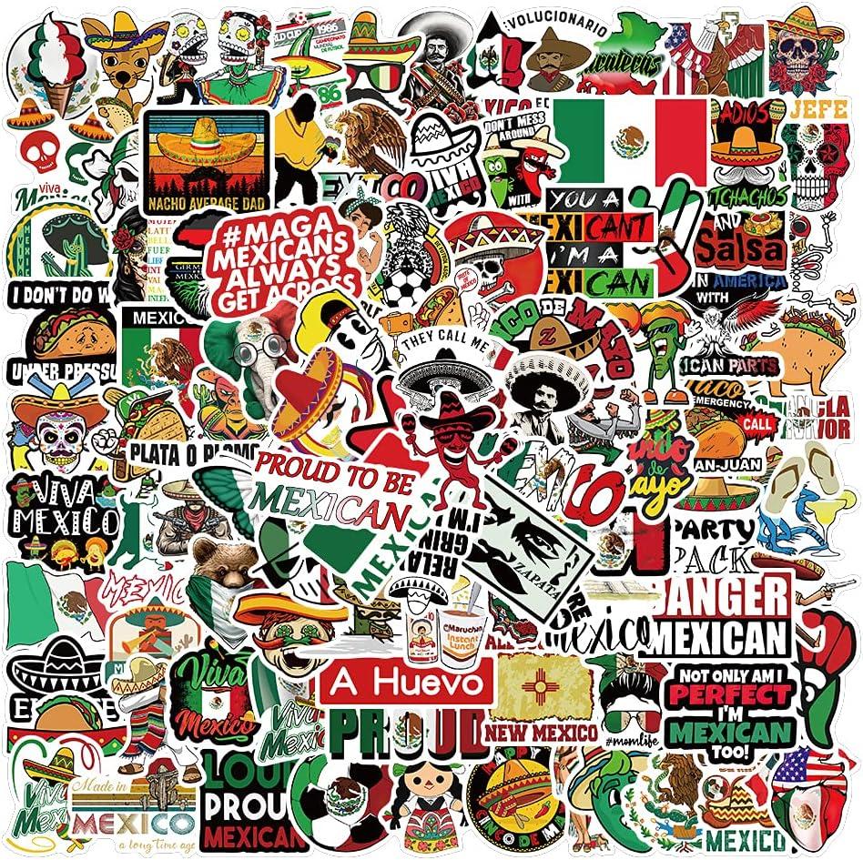100PCS Mexican Stickers,Vinyl Waterproof Stickers for Laptop,Bumper,Skateboard,Water Bottles,Computer,Phone, Mexican Stickers for Adult (100PCS Mexican Stickers)
