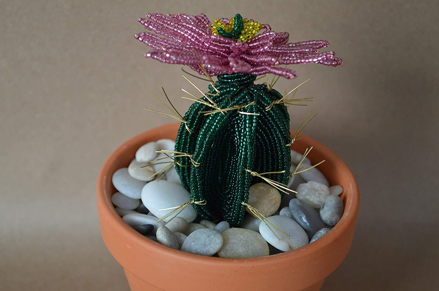 French beaded flowers Fees Albuquerque Mall free potted cactus plant clay flower in pink