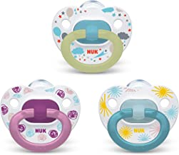 NUK Orthodontic Pacifier Value Pack, Girl, 0-6 Months (Pack of 3)