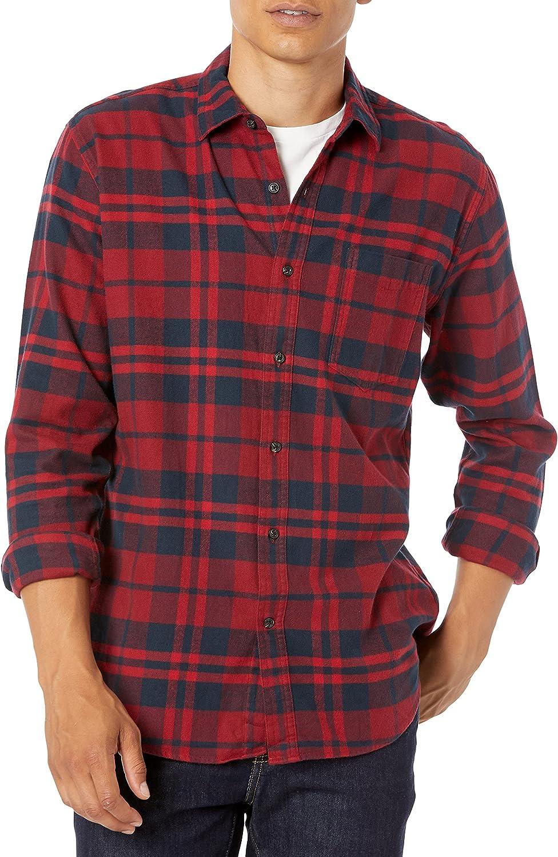 Amazon Essentials Hombre Camisa de franela a cuadros de manga larga