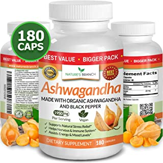 Organic Ashwagandha with Black Pepper - 180 Capsules - 1950mg Maximum Support for Stress Relief, Anti Anxie...