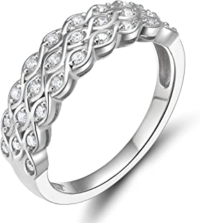 EAMTI 925 Sterling Silver Cubic Zirconia Eternity Band Multi Row Anniversary Ring for Women
