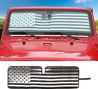 Windshield Sunshade Car Sun Shade Heat Shield JK Custom-fit Sunshade Sun Visor Mat for 1997-2017 Jeep Wrangler Rubicon Sahara TJ JK JKU 2/4 Doors USA Flag