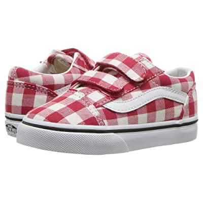 Vans Kids Old Skool V (Toddler) ((Gingham) Racing Red/True White) Girls Shoes