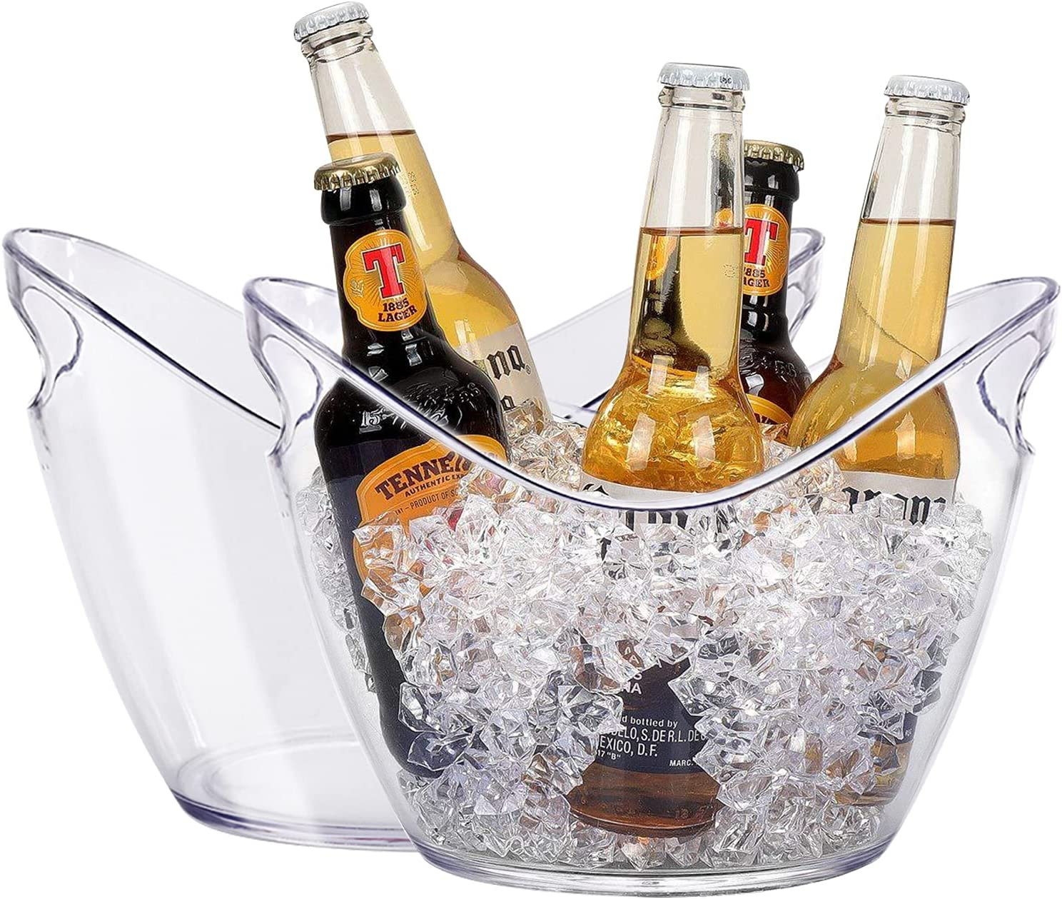 Plastic Oval Storage Tub,5 Liter Ice Buckets For Beer Bottle Drink Cooler,Party Beverage Chiller Bin,Storage Baskets,Clear Storage Bin with Handles For Kitchen,Cabinet,Large Pantry Organization 2sets