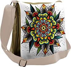 Lunarable Tattoo Messenger Bag, Old School Motif Mandala, Unisex Cross-body
