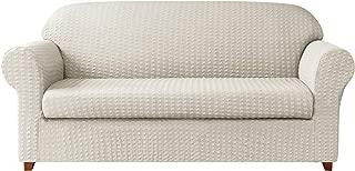 Subrtex 2-Piece High Stretch Slipcovers Durable Soft Jacquard Fabric Machine Washable Sofa Covers, Cream