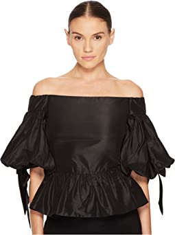 Solid Off the Shoulder Peplum Top in Taffeta
