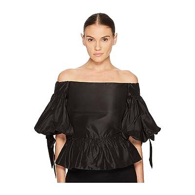Marchesa Solid Off the Shoulder Peplum Top in Taffeta (Black) Women