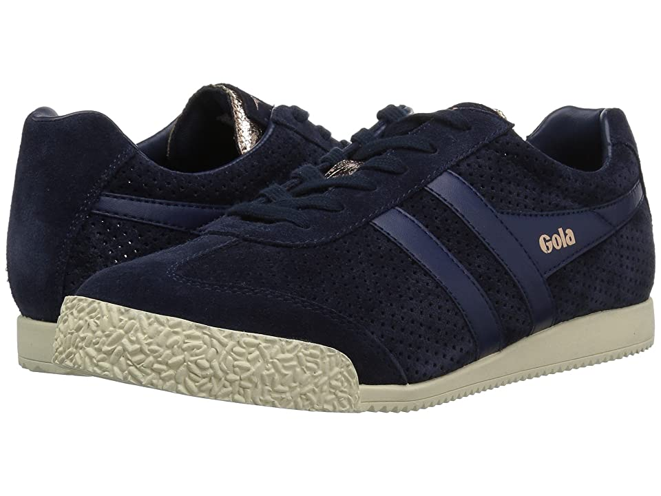 Gola Harrier Glimmer Suede (Navy/Rose Gold/Off-White) Women