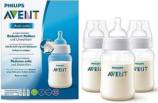 Philips Avent Anti-colic Flasche mit AirFree Ventil kompatibel, SCF813/37, 260ml, 3er-Pack, transparent