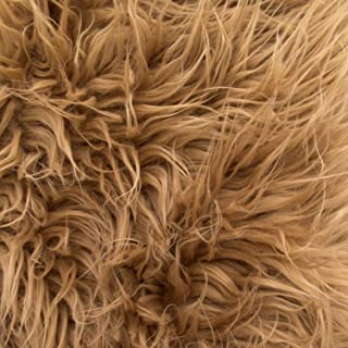 Faux Fake Fur Dark Camel Mongolian 60 Inch Fabric by the Yard (F.E.®)