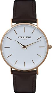 Women's Minimalist Leather Quartz Crystal Watch - Minimalist and Stylish Ladies Watches Available in Black, Brown or White Vegan Leather with Gold, Rose Gold or Silver Finish - by Sterling of London