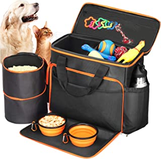 Babyltrl Dog Travel Bag - Airline Approved Pet Food Carrier Bag for Dogs - Includes 1 Pet Travel Tote, 2 Dog Food Containers, 2 Collapsible Dog Bowls