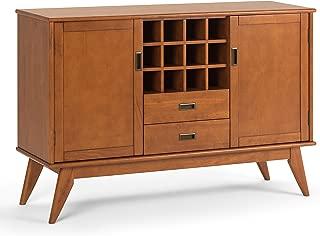 Simpli Home 3AXCDRP-10-TK Draper Solid Hardwood 54 inch wide Mid Century Modern Sideboard Buffet and Winerack in Teak Brown