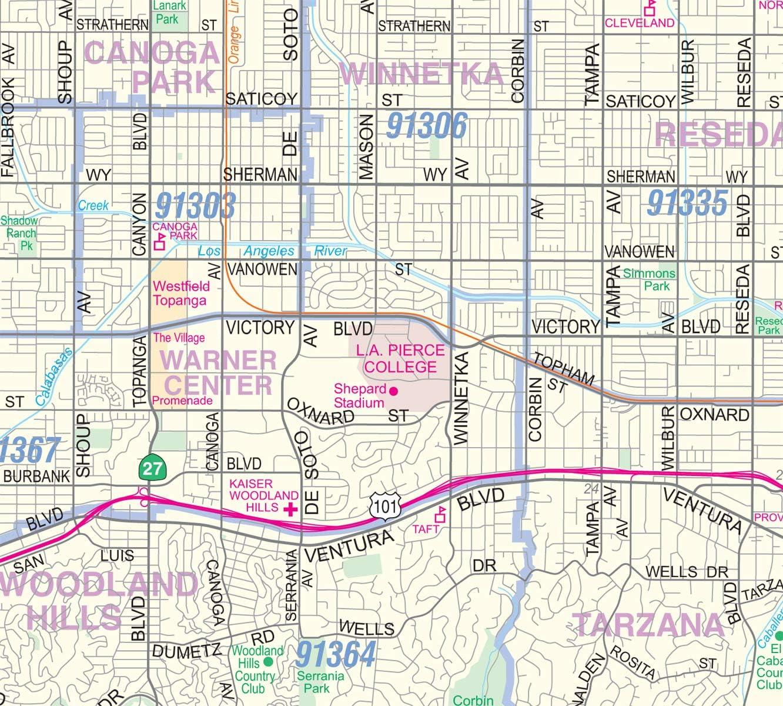 San Fernando Valley North Los Angeles Detailed ...   Amazon.com
