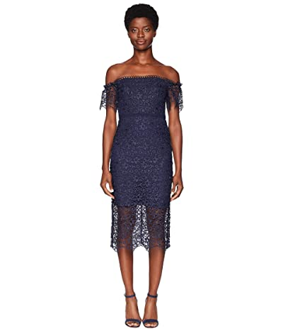ML Monique Lhuillier Off Shoulder Lace Cocktail Dress (Navy) Women
