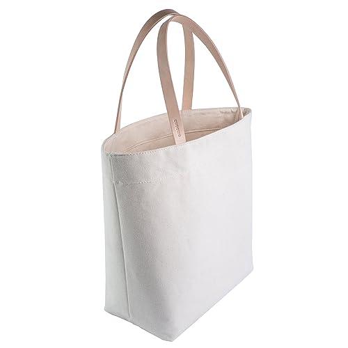 fffcae6f7de0 Leather Strap Tote Bag - Canvas Minimalist Handbag with Rustic Full Grain  Leather Straps - Made