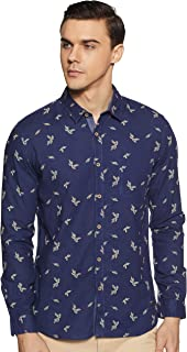 CHEROKEE Men's Printed Regular fit Casual Shirt (400017914343_Navy M)