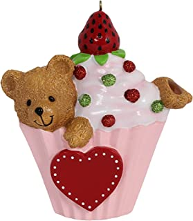 MAXORA Personalized Bear Cupcake Ornament
