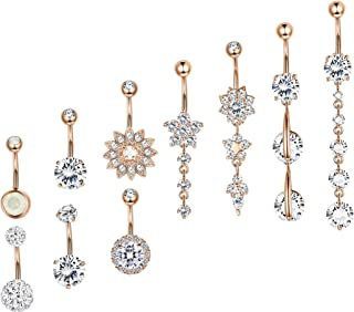Besteel 10 Pcs 14G Stainless Steel Dangle Belly Button Rings for Women Girls Navel Rings CZ Body Piercing