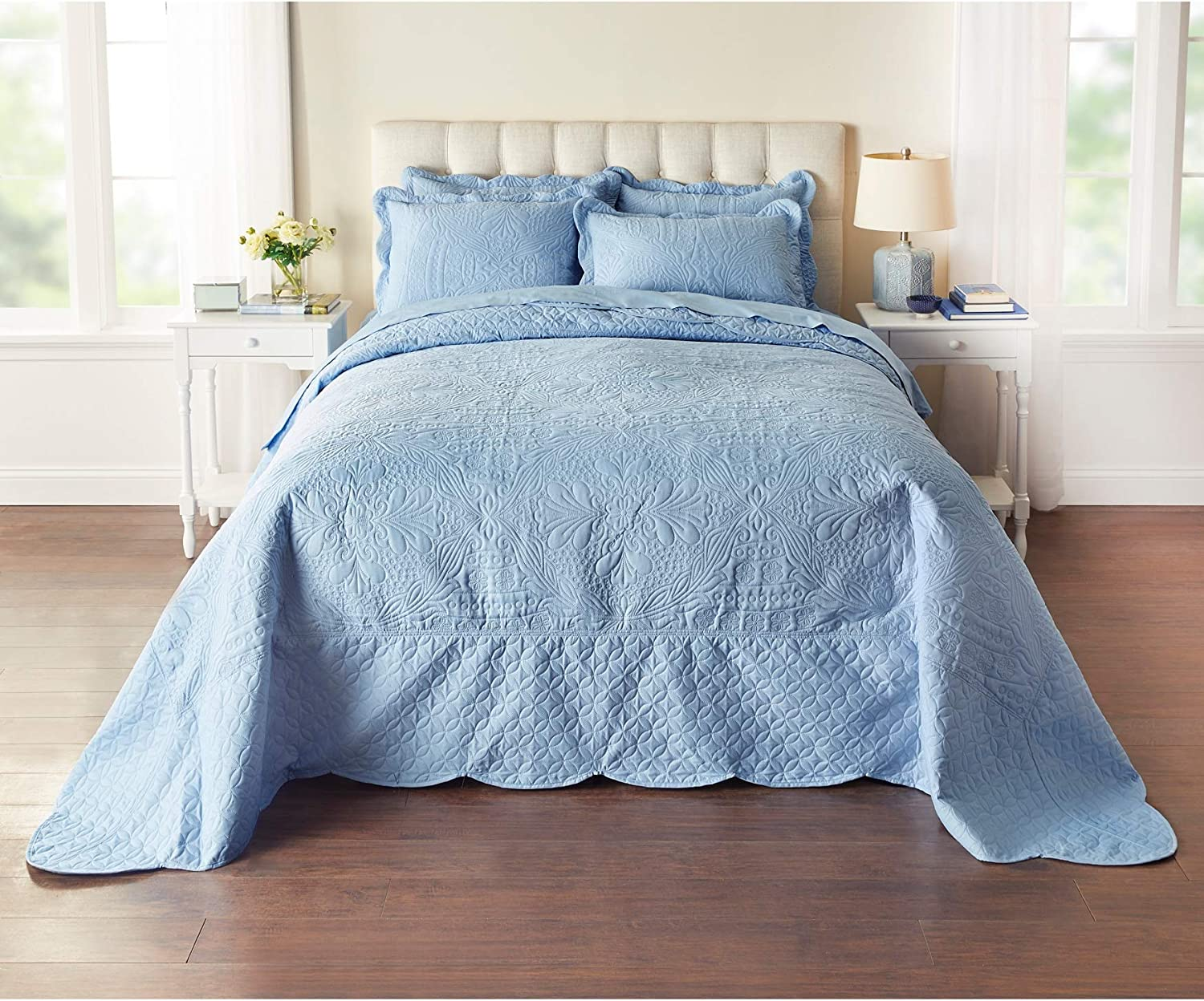 Blue BrylaneHome Lily Damask Embossed Bedspread Twin