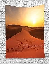 ALKKVI Tapices de pared Desert Tapestry Footprints on Sand Dunes at Sunrise Hot Dubai Landscape Travel Destination decoración para el hogar,para dormitorios,salones o como manta para playa 60 W X 80 L