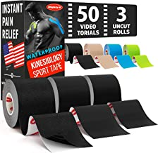 Sponsored Ad - (3 Uncut Rolls) Waterproof Kinetic Tape for Knees and Shoulders + 50 Video Guides - Immediate Pain Relief -...