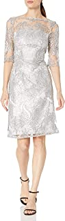 Tahari by Arthur S. Levine Women's Dress with Mesh Top and Rhinestone Emb