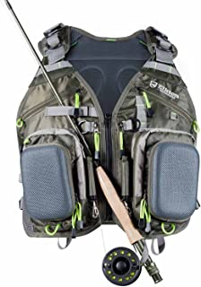 Elkton Outdoors Universal Fit Fly Fishing Vest Backpack with Hard Shell Storage Compartments and Rod Holders