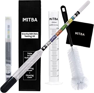 Hydrometer & Testing Jar Kit by MiTBA Test the ABV, Brix & Gravity of your Wine, Beer, Mead & Kombucha accurately! Triple Scale Hydrometer + 250ml Plastic Graduated Cylinder + cleaning brush & cloth