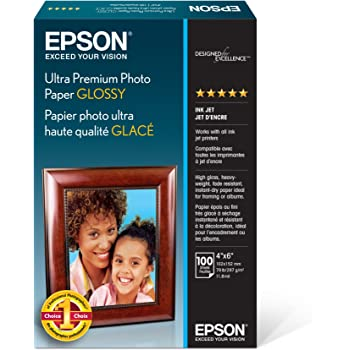 """Epson Ultra Premium Photo Paper Glossy - S042174, 4"""" x 6"""" (100 sheets),White"""