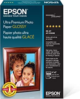 "Epson Ultra Premium Photo Paper Glossy - S042174, 4"" x 6"" (100 sheets),White"