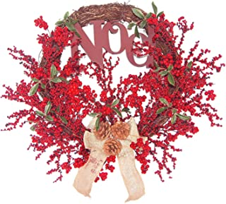 22 Inch Artificial Wreath Handmade Wreath with Red Berries and Pine Cones for Festival Front Door Window Decor