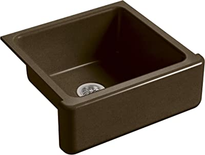 KOHLER K-5665-KA Whitehaven Farmhouse Self-Trimming 23-11/16-Inch x 21-9/16-Inch x 9-5/8-Inch Undermount Single-Bowl Kitchen Sink with Tall Apron, Black/Tan