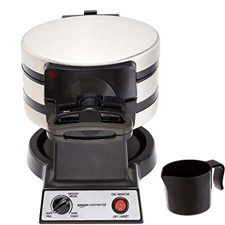AmazonCommercial Double Waffle Maker, Stainless Steel, 1400 Watts
