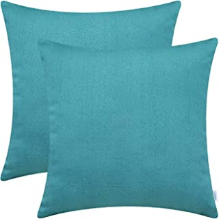 CaliTime Pack of 2 Soft Throw Pillow Covers Cases for Couch Sofa Home Decor Solid Shiny Faux Linen Woven Texture 18 X 18 Inches Teal