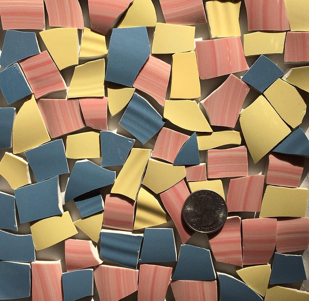 Mosaic Art & Crafts Supply ~ Yellow Pink & Blue Tiles (B296)