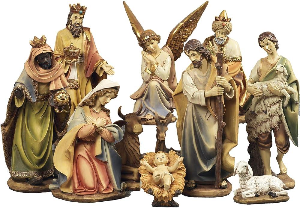 Presepe natività composto da 11 statue in resina decorata alte fino a 43 cm Pb13118
