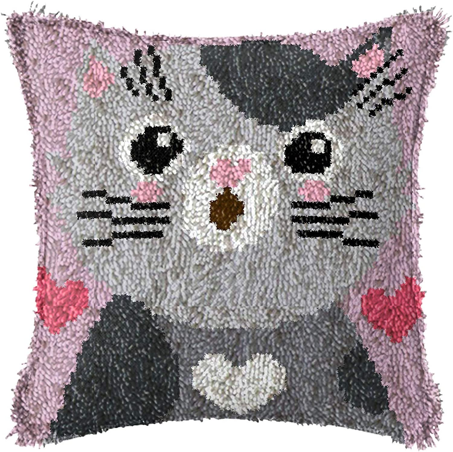 ,A 17 * 17In for Kids Adults Gift 43 * 43Cm DIY Latch Hook Kits Throw Pillow Cover Rug Making Kits Latch Hook with Colorful Animals Pattern Printed